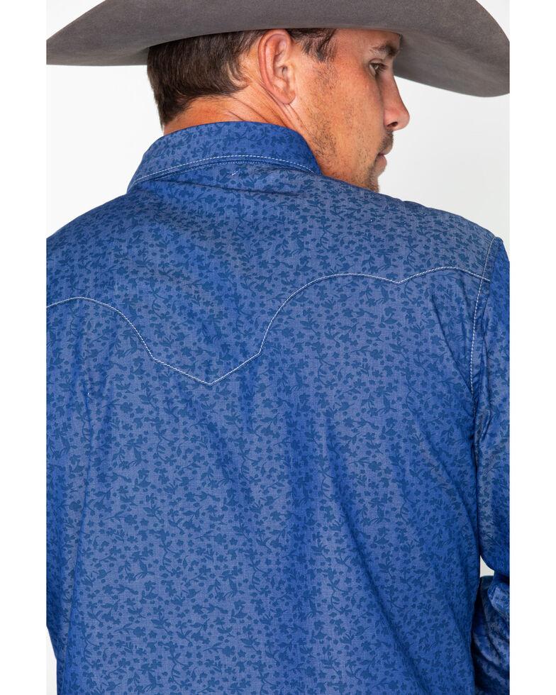 Wrangler Retro Men's Blue Floral Geo Print Long Sleeve Western Shirt, Blue, hi-res