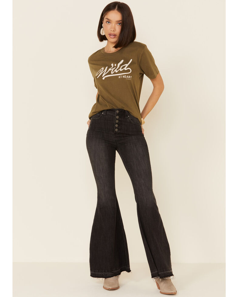 Wondery Women's Olive Wild At Heart Graphic Tee , Olive, hi-res