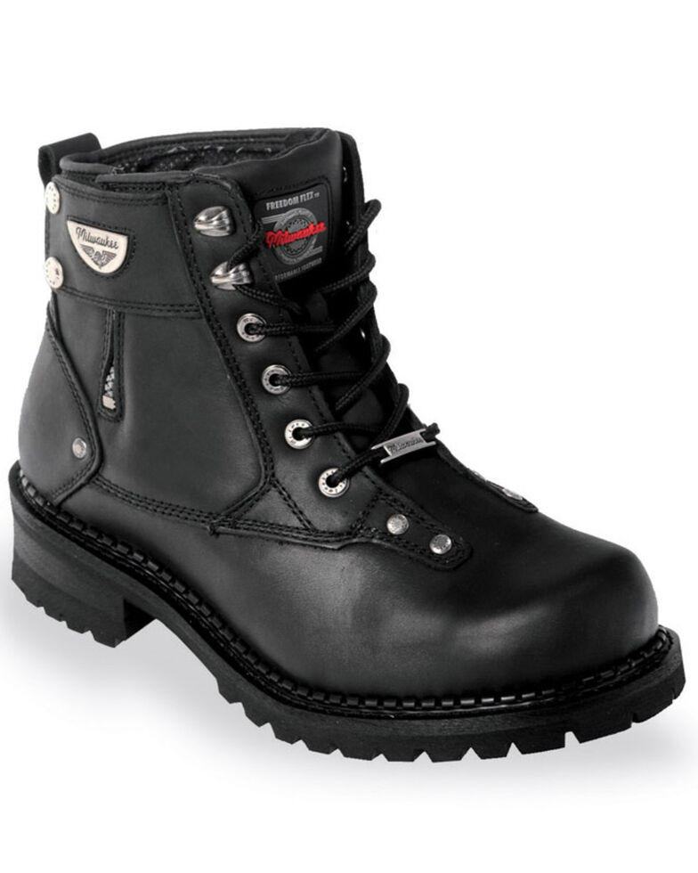 Milwaukee Motorcycle Clothing Co. Men's Outlaw Moto Boots - Round Toe, Black, hi-res