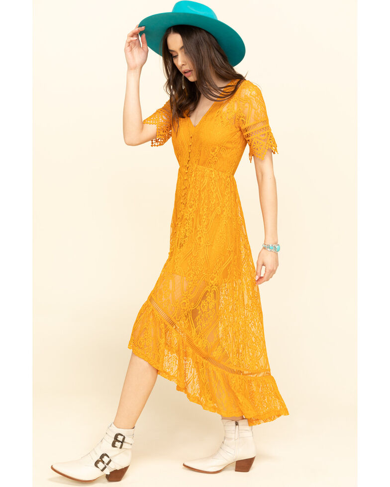 Shyanne Women's Ivory Lace Button Down Hi-Lo Maxi Dress, Yellow, hi-res