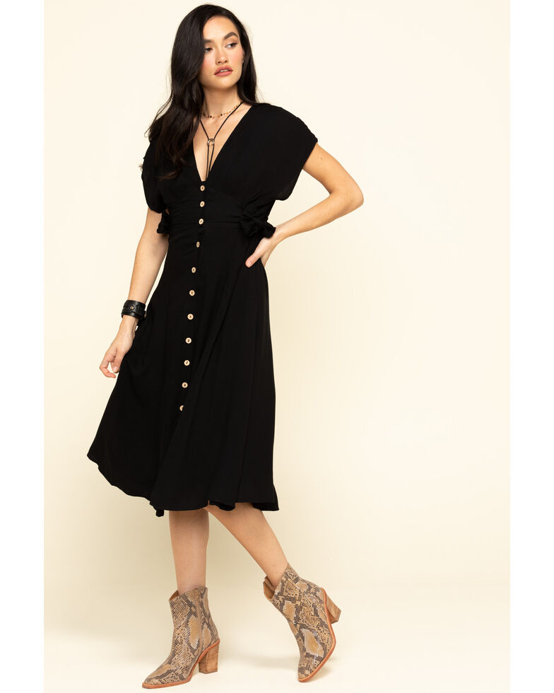 Miss Me Women's Black Button Down Midi Dress, Black, hi-res