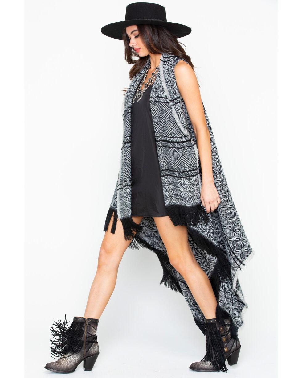 Shyanne Women's Black & White Frayed Kimono, Black, hi-res