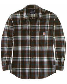 Carhartt Men's Brown Plaid Heavyweight Long Sleeve Work Flannel Shirt Jacket - Tall  , Brown, hi-res