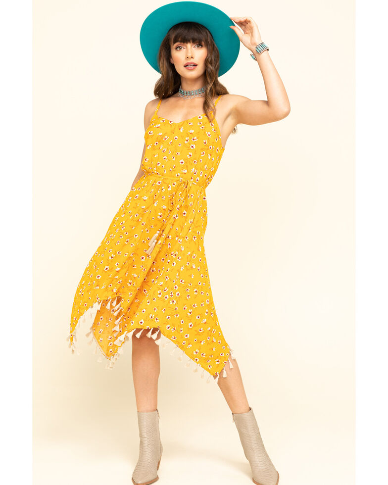 Shyanne Women's Yellow Floral Hanky Dress, Yellow, hi-res