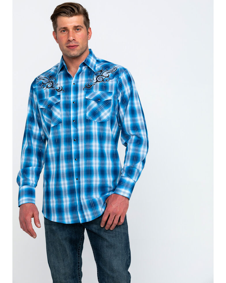 Ely Walker Men's Retro Plaid Embroidered Long Sleeve Western Shirt , Teal, hi-res