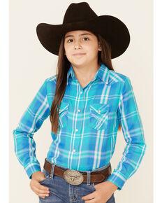Panhandle Girls' Turquoise Plaid Long Sleeve Snap Western Shirt , Turquoise, hi-res