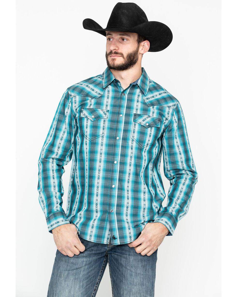 Cody James Men's Native Spirit Plaid Long Sleeve Western Shirt - Tall, Turquoise, hi-res