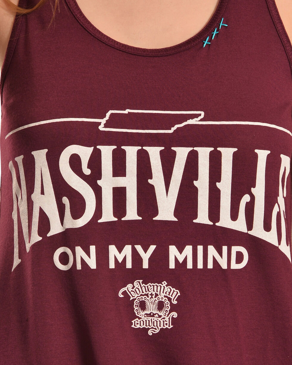 Bohemian Cowgirl Women's Nashville On My Mind Tank, Burgundy, hi-res