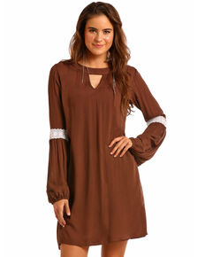e238d8140aef Rock & Roll Cowgirl Women's Long Sleeve Lace Elbow Dress