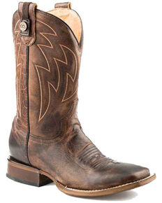 Roper Men's Rider Western Boots - Square Toe, Brown, hi-res