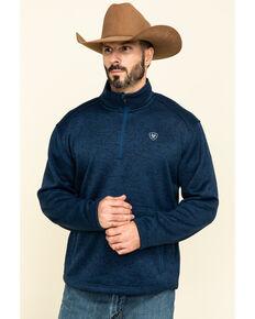 Ariat Men's Indigo Caldwell 1/4 Zip Pullover, Indigo, hi-res