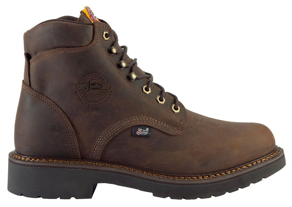 "Justin Men's J-Max 6"" Balusters Rugged Bay EH Lace-Up Work Boots - Steel Toe, Brown, hi-res"