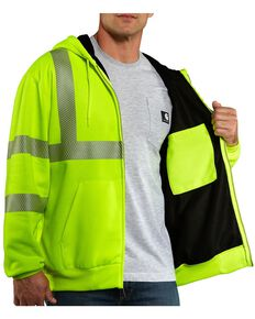Carhartt Men's High-Visibility Class 3 Thermal Lined Work Jacket, Lime, hi-res