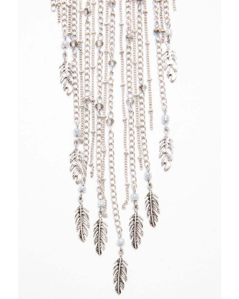 Shyanne Women's Autumn Feather Waterfall Fringe Necklace , Silver, hi-res