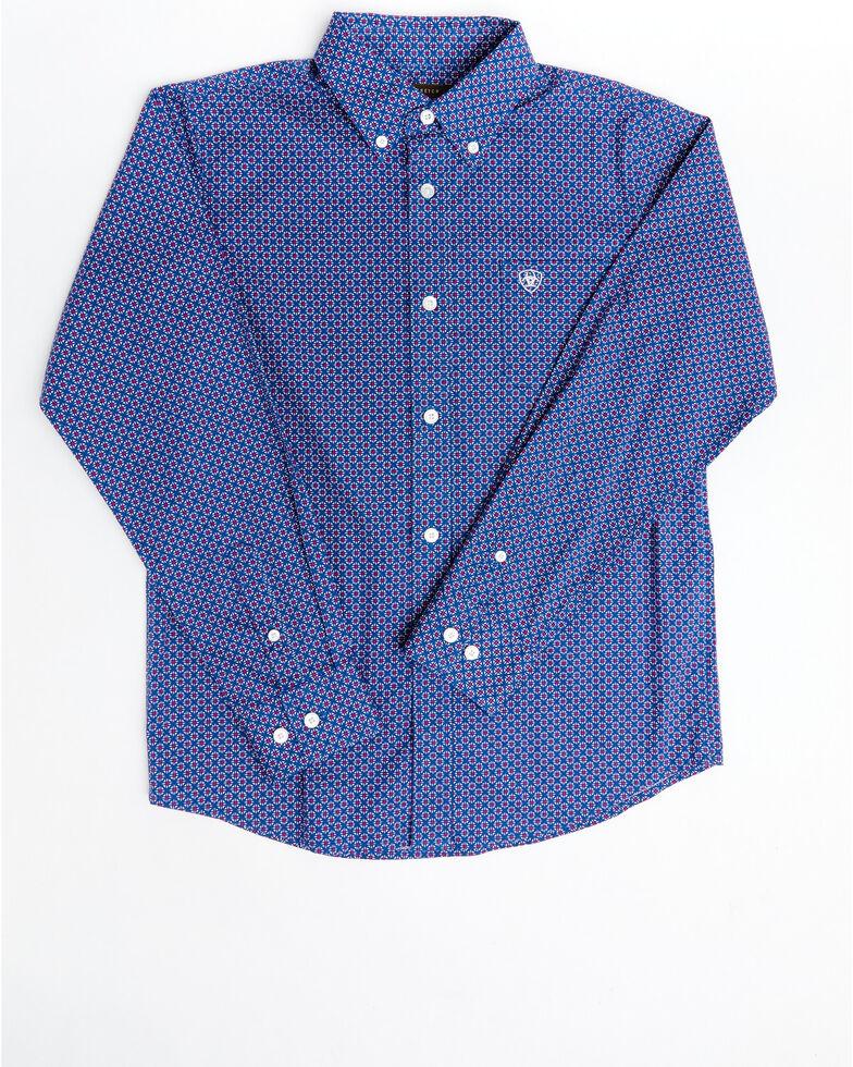 Ariat Boys' Gaudry Stretch Geo Print Long Sleeve Western Shirt, Navy, hi-res