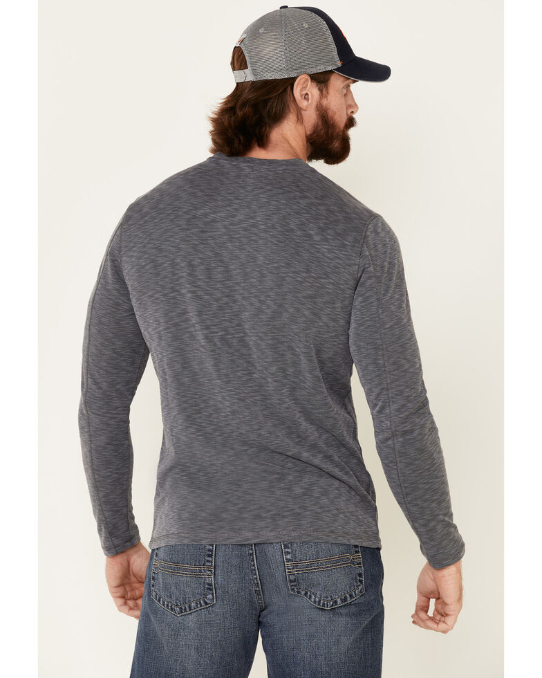 Flag & Anthem Men's Grey Made Flex Momentum Slub Henley Long Sleeve Shirt , Grey, hi-res