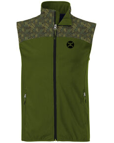 7a8cb6c6f9 HOOey Men's Green Softshell Zip-Front Vest