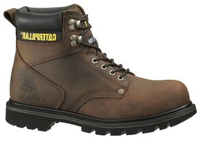 "Caterpillar 6"" Second Shift Lace-Up Work Boots - Steel Toe, Tan, hi-res"
