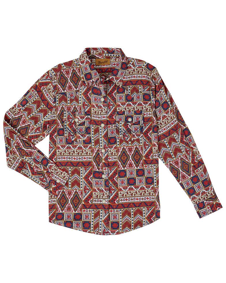 Wrangler Girls' Navy Patchwork Long Sleeve Western Shirt, Navy, hi-res