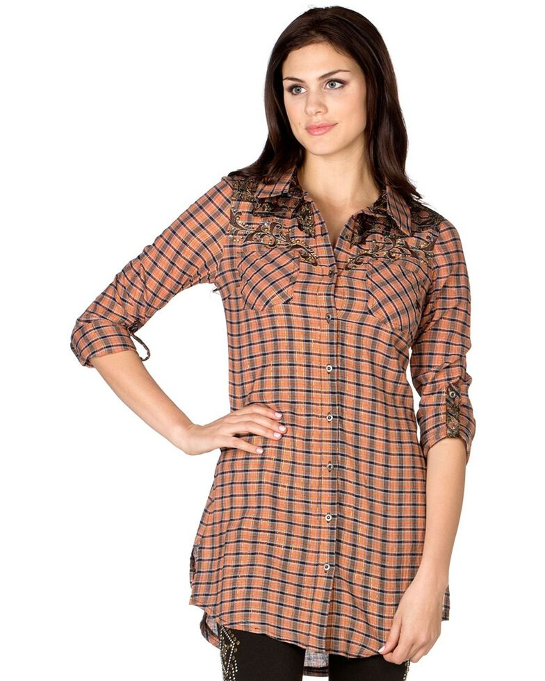 Miss Me Orange Plaid Cross Applique Tunic, Orange, hi-res