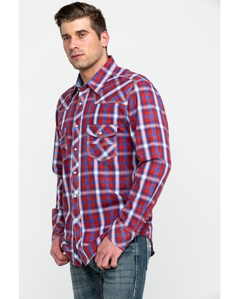 Rock & Roll Denim Men's Red Crinkle Plaid Long Sleeve Western Shirt , Red, hi-res