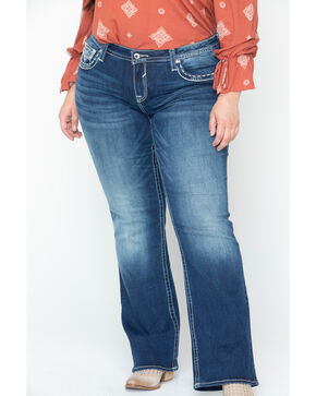 Vigoss Women's Heavy Stitch Pocket Boot Jeans - Plus, Blue, hi-res