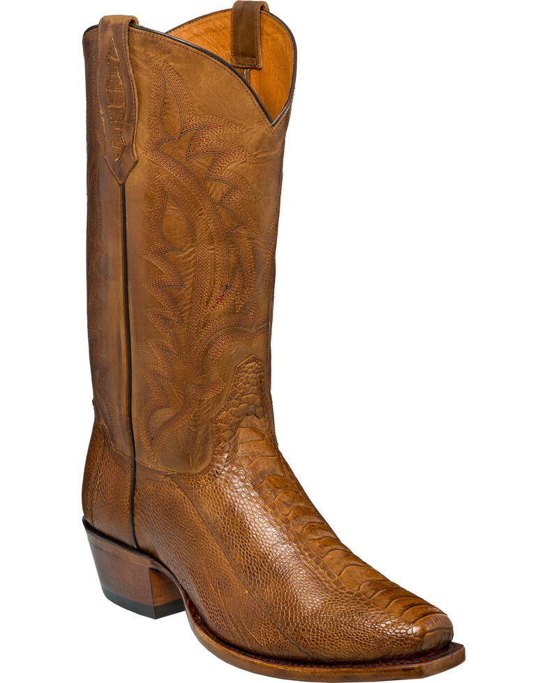 Tony Lama Men's Sunset Oiled Ostrich Leg Cowboy Boots - Square Toe, Suntan, hi-res