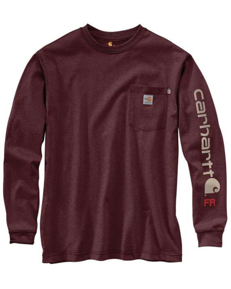 Carhartt Men's FR Force Original Fit Signature Logo Long Sleeve Work T-Shirt - Tall , Heather Grey, hi-res
