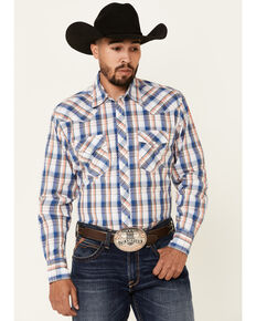 Wrangler 20X Men's AC Blue Plaid Long Sleeve Snap Western Shirt , Blue, hi-res