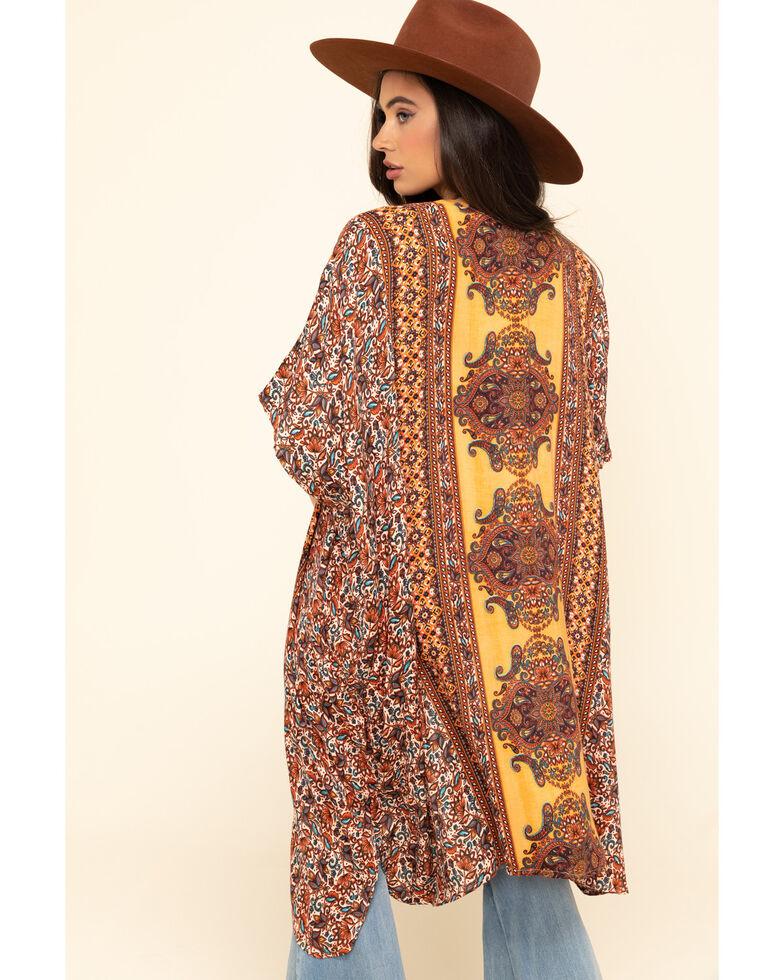Angie Women's Gold Floral Border Print Challis Kimono , , hi-res