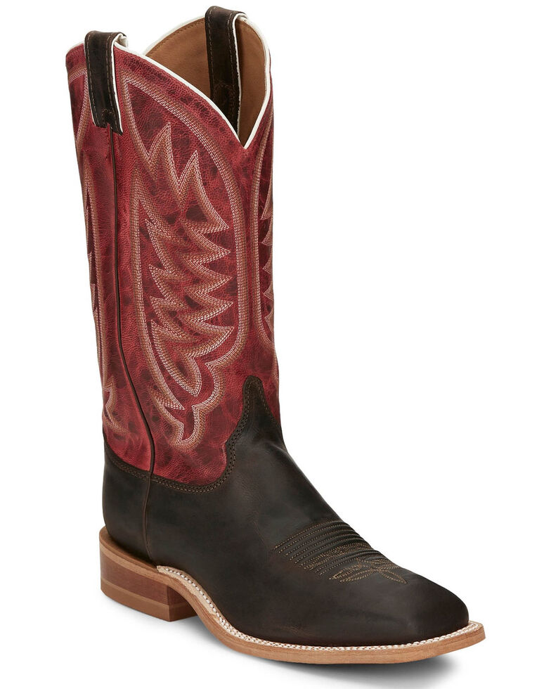 Justin Men's Andrews Chocolate Western Boots - Wide Square Toe, Chocolate, hi-res