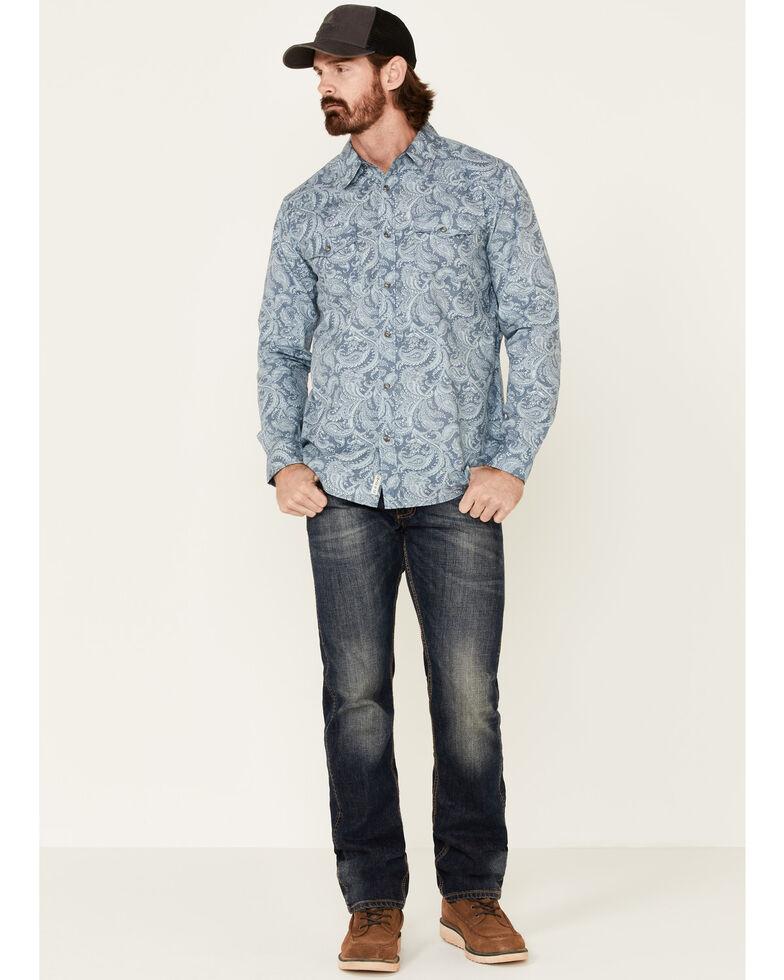 Moonshine Spirit Men's Bayou Born Large Paisley Print Long Sleeve Western Shirt , Light Blue, hi-res