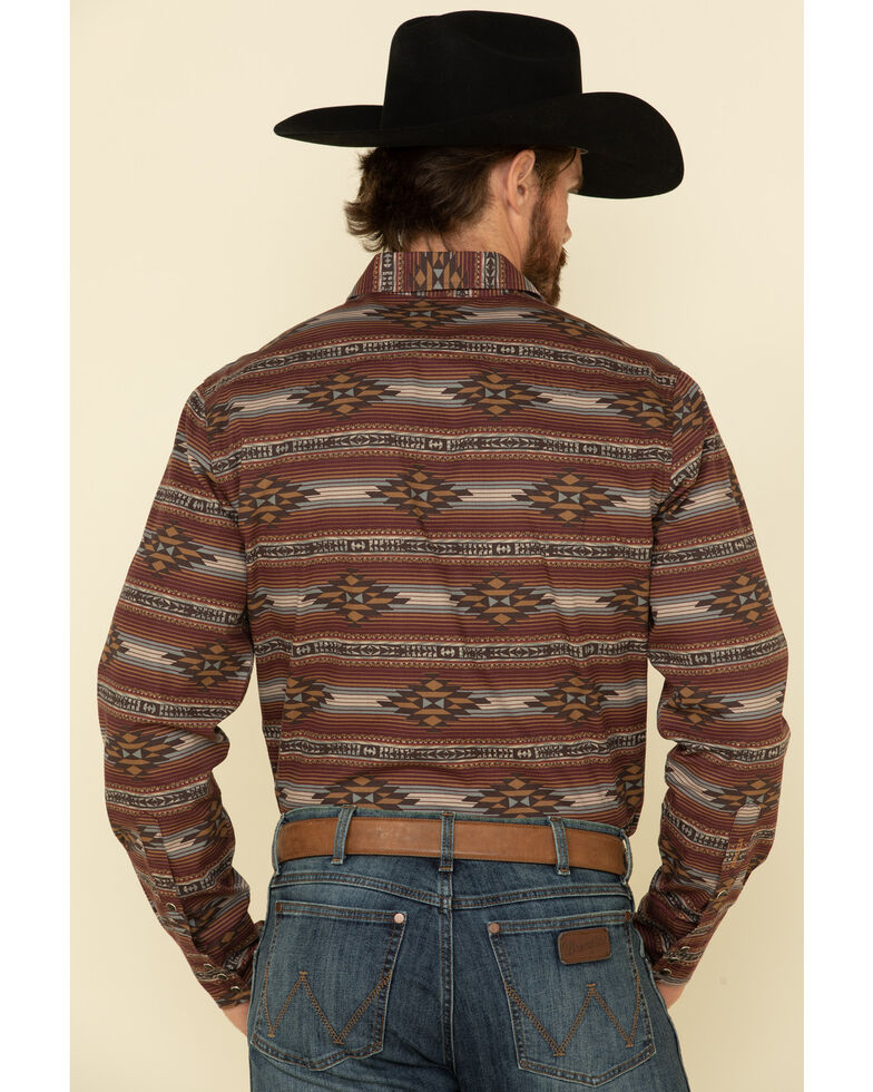 Stetson Men's Original Rugged Aztec Serape Print Long Sleeve Western Shirt , Brown, hi-res