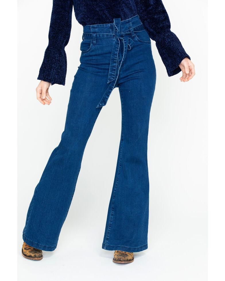 Flying Tomato Women's Dark High Waist Tie Front Trousers , Indigo, hi-res