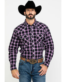 Wrangler 20X Men's Advanced Comfort Plaid Long Sleeve Western Shirt - Tall , Black/purple, hi-res