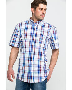 Cody James Core Men's Constitution Plaid Short Sleeve Western Shirt - Tall , Red/white/blue, hi-res