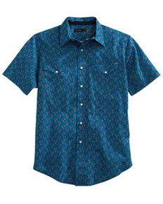 Tin Haul Men's Grid Paisley Print Short Sleeve Western Shirt , Blue, hi-res