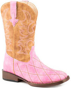 Roper Girls' Crosscut Western Boots - Square Toe, Pink, hi-res