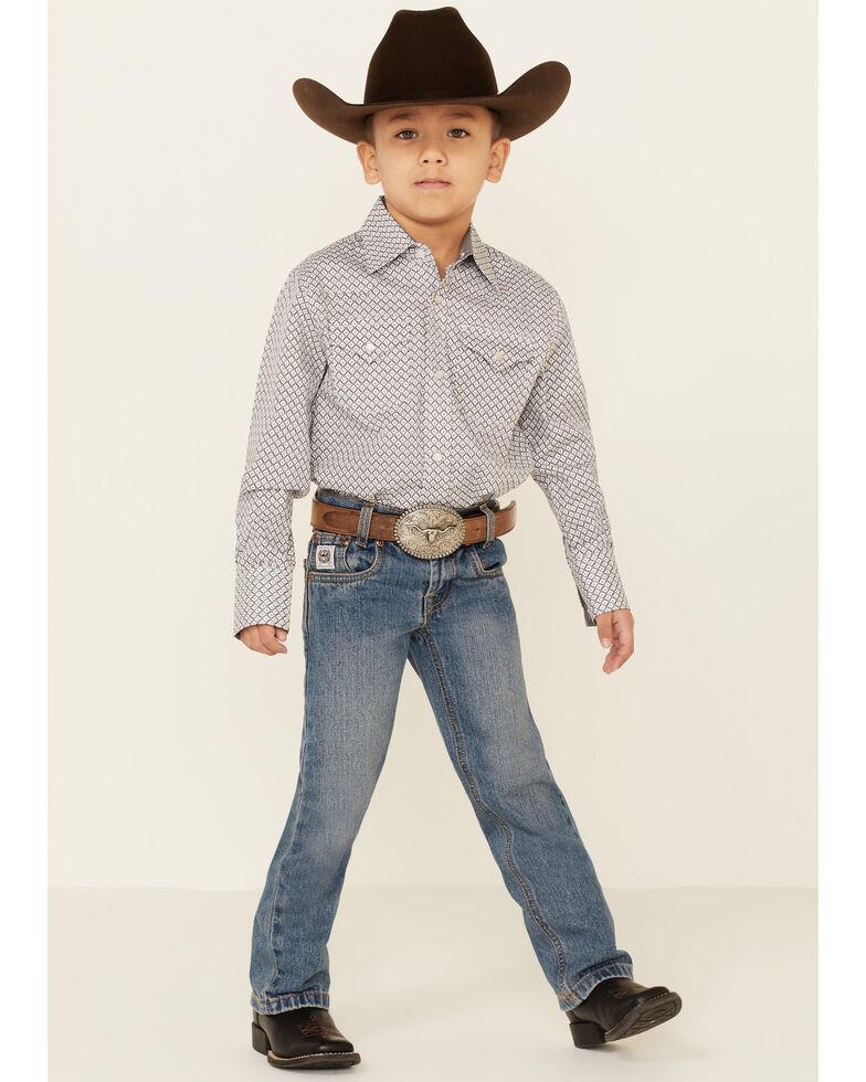Ely Walker Boys' Charcoal Mini Geo Print Long Sleeve Western Shirt, Charcoal, hi-res