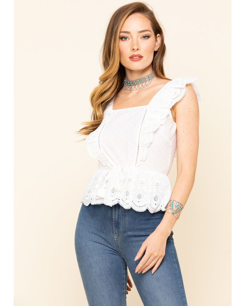 Shyanne Women's White Lace Ruffle Sleeveless Top, White, hi-res