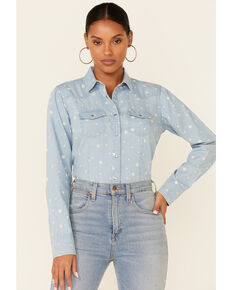 Cotton & Rye Outfitters Women's Chambray Stars At Night Print Long Sleeve Snap Western Shirt , Light Blue, hi-res