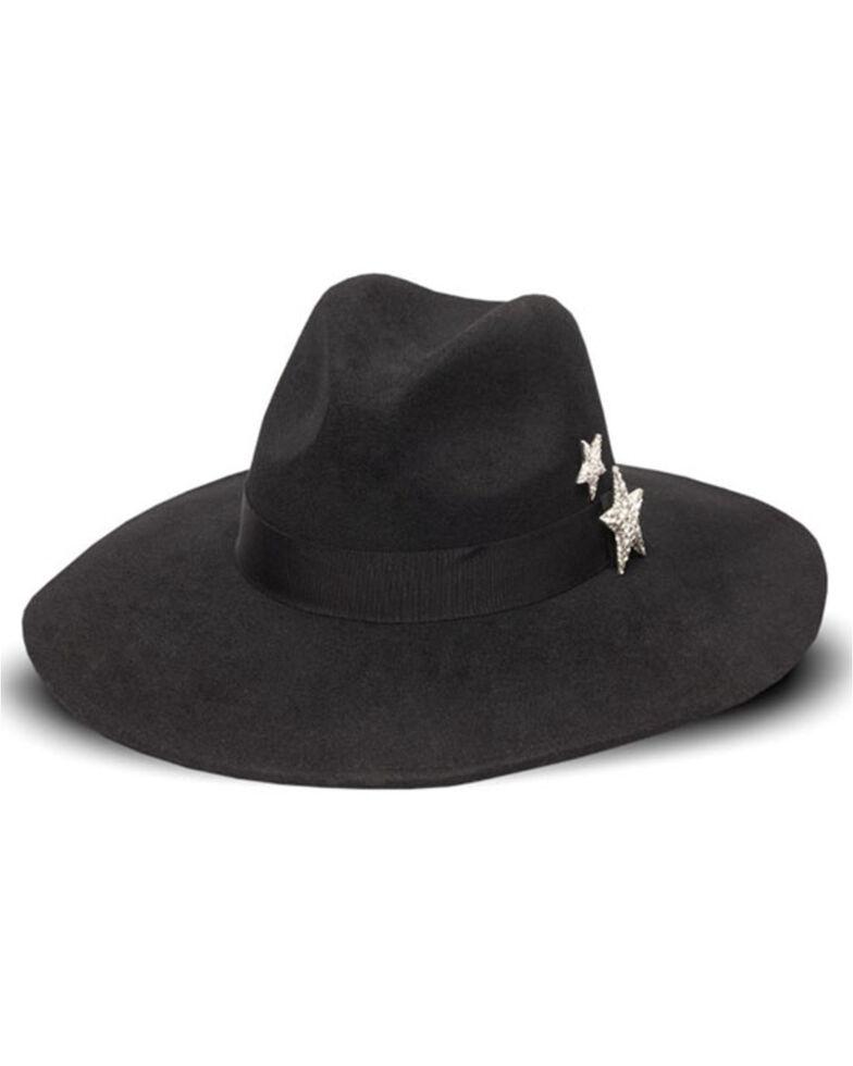 Nikki Beach Women's Astrid Star Crystal Wool Felt Western Hat , Black, hi-res