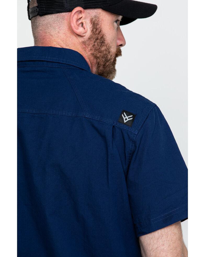 Hawx® Men's Solid Yarn Dye Two Pocket Short Sleeve Work Shirt , Navy, hi-res