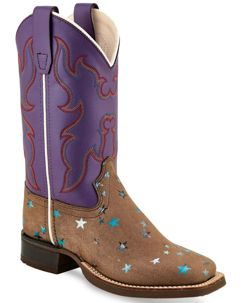 Old West Girls' Stars Western Boots - Wide Square Toe, Brown, hi-res