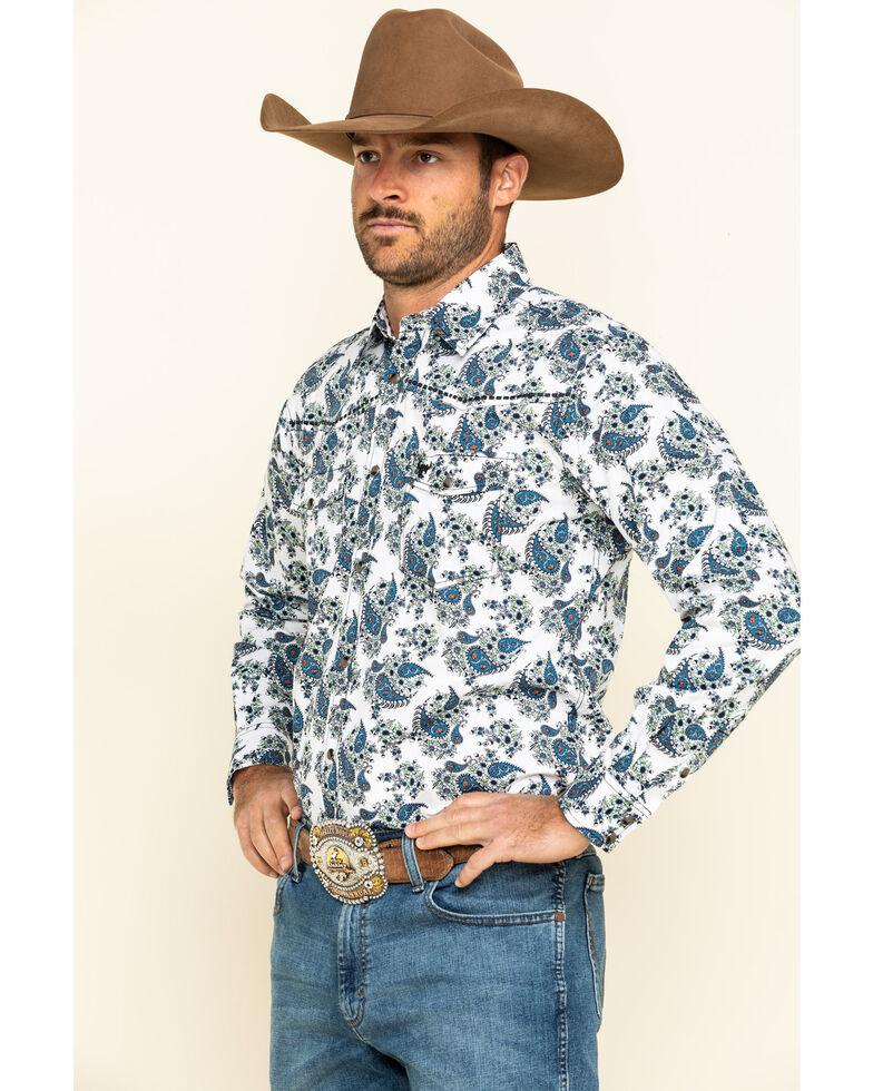 Cowboy Hardware Men's White Paisley Print Long Sleeve Western Shirt , White, hi-res