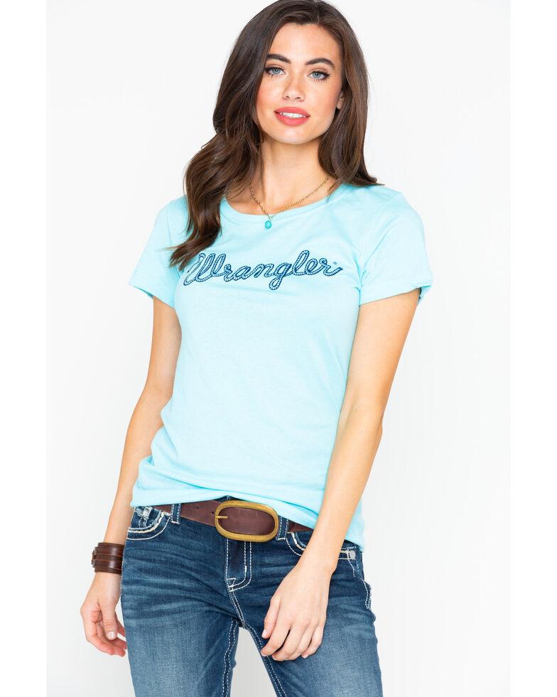 Wrangler Women's Turquoise Rope Logo Tee, Turquoise, hi-res
