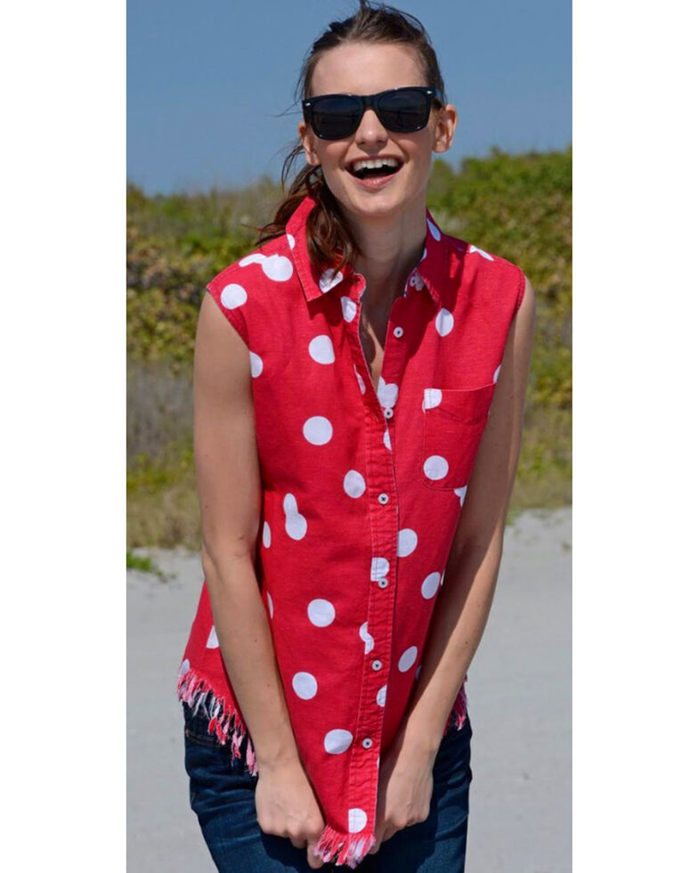 Dizzie Lizzie Women's Sun Valley Polka Dot Fringe Shirt , Red, hi-res