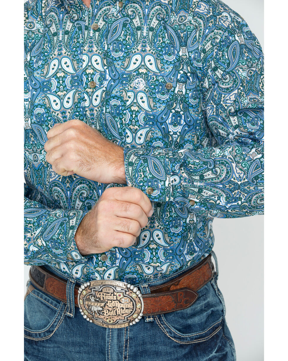 George Strait by Wrangler Men's Long Sleeve Print Shirt , Forest Green, hi-res