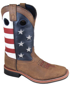 """Smoky Mountain Women's 10"""" Stars and Stripes Western Boots - Square Toe, Distressed Brown, hi-res"""