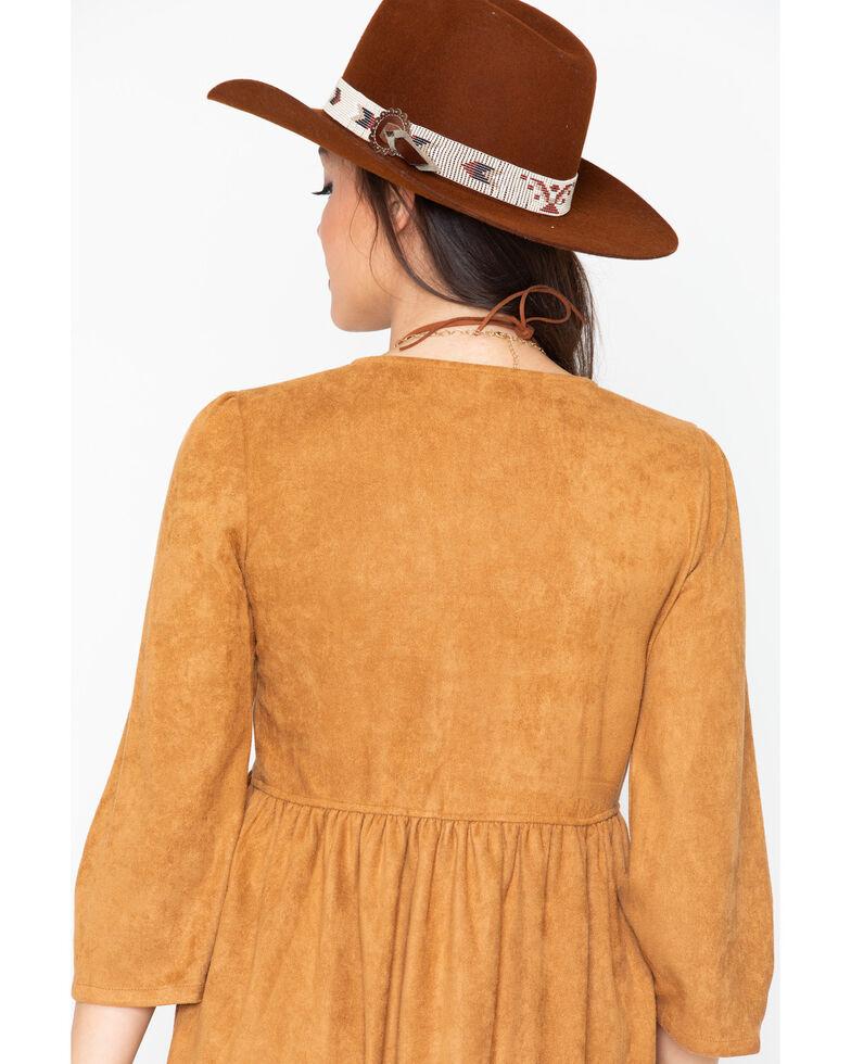 Stetson Women's Faux Suede Lace Dress, Brown, hi-res
